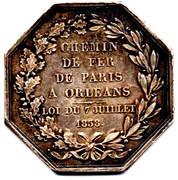 Jeton octogonal chemin de fer de Paris à Orléans 1838 – reverse