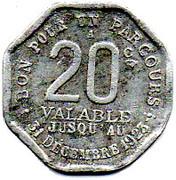 20 Centimes Région Parisienne 75 – reverse