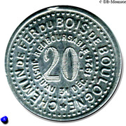 20 Centimes - Chemin de fer du Bois de Boulogne – reverse