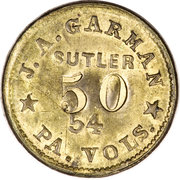 50 Cents - J.A. Garman (54th Pennsylvania Volunteers) – obverse