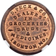 Token - D. Peck & Co. Groceries Drugs & Medicines Civil War (Ironton MO) – obverse