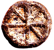 Uniface Lead Token with star of life cross – obverse