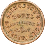 Civil War Merchant Token - Blindbury's Hotel (Detroit, MI) – obverse