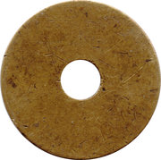 Uniface Brass token with hole – reverse