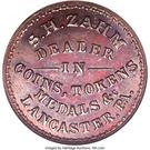S.H. Zahm Coin Dealer (Lancaster, PA) – obverse