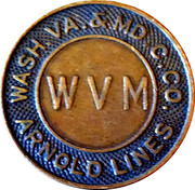 1 Fare - Wash. Va. & M.D. C. Co. Arnold Lines – obverse
