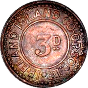 3 Pence - Ireland Island Co-op Society – obverse