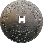 1 Dollar - Hatfield-Campbell Creek Coal Company scrip (Reed, W. VA.) – obverse