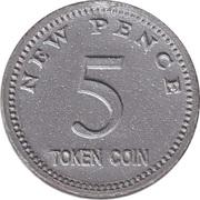 5 New Pence – reverse