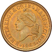 Civil War Merchant Token - B. Kittredge & Co Military Goods (Cincinnati, OH) – obverse
