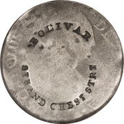 Hard Times Token - Bolivar 8th and Chest Strt Counterstamp on Mexico 2 Reales (Philadelphia, PA) – obverse