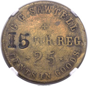 25 Cents - Civil War Token - G.G. Sawtell Sutler (8th Virginia Regiment) – obverse