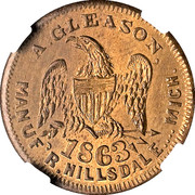 Cent - Civil War Merchant Token -  J.O. Ames, Books (Hillsdale, MI) – reverse