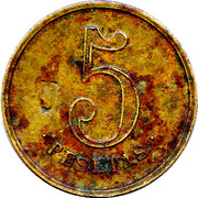 "5 Pesetas (""Las Planas d'Hostoles"" Cooperative Union Token; countermarked ""U"") – reverse"
