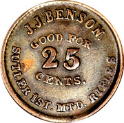 25 Cents - Civil War Token - JJ Benson (1st MTD Rifle Company of New York) – obverse