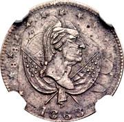 10 Cents - Civil War  Patriotic Token - Overstruck on 1838-O Dime – obverse