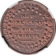 Cent - Hard Times Token - Daniel Webster (Millions for Defence) – reverse
