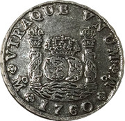 Replica - 1760 Spanish-American Pillar Dollar – obverse