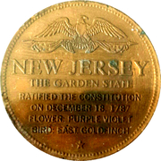 Token - Shell's States of the Union Coin Game, Version 1 - Bronze Collector's Coin Set (New Jersey) – reverse