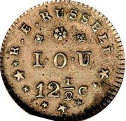 12 1/2 Cents - Hard Times Merchant Token - R. E. Russell – reverse