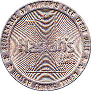 1 Dollar Gaming Token - Harrah's Lake Tahoe – reverse