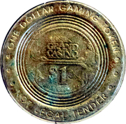 1 Dollar Gaming Token - Grand Island (Biloxi, Mississippi) – reverse