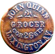 Civil War Merchant Token - John Quinn (New York, NY) – obverse