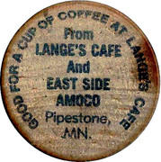 Wooden Nickel - Lange's Cafe (Pipestone, MN) – obverse