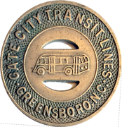 15 Cents Fare - Gate City Transit Lines (Greensboro, NC) – obverse