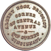 Civil War Merchant Token - Albert Ross Druggist (Cincinnati, Ohio) – reverse