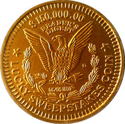 $150,000.00 Reader's Digest Lucky Sweepstakes Coin – reverse