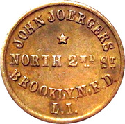 Civil War Merchant Token - John Joergers (Brooklyn, NY) – obverse