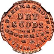 Civil War Merchant Token - Baker & Brown Dry Goods (Hudson, MI) – obverse