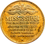 Token - Shell's States of the Union Coin Game, Version 1 - Bronze Collector's Coin Set (Mississippi) – reverse