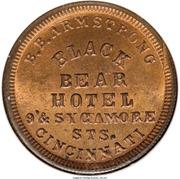 Civil War Merchant Token - B.B. Armstrong, Black Bear Hotel (Cincinnati, OH) – obverse