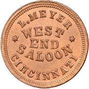 Civil War Merchant Token - L. Meyer, West End Saloon (Cincinnati, OH) – obverse