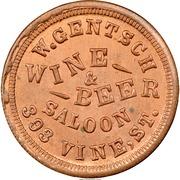 Civil War Merchant Token - W. Gentsch Wine & Beer (Cincinnati, OH) – obverse