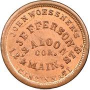 Civil War Merchant Token - John Woessner, Jefferson's Saloon (Cincinnati, OH) – obverse