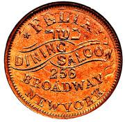 Civil War Merchant Token - Felix Dining Saloon (New York, NY; Overstruck on an 1863 Cent) – obverse