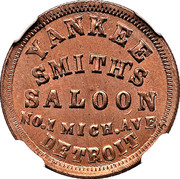 Civil War Merchant Token - Yankee Smith's Saloon (Detroit, MI) – obverse