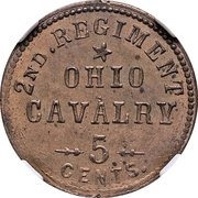 5 Cents - Civil War Sutler Token - 2nd Regiment, Ohio Cavalry – obverse