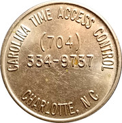 Parking Token - CARTAC (Carolina time access control; Charlotte, N.C.) – reverse