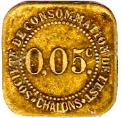 5 Centimes - Société de Consommation de l'Est (Chalons) – reverse