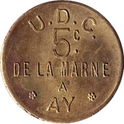 5 Centimes - UDC – reverse