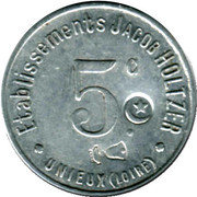 5 Centimes Etablissements Jacob Holtzer Unieux [42] – obverse