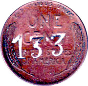 1 Cent USA (United Fruit Countermark) – obverse