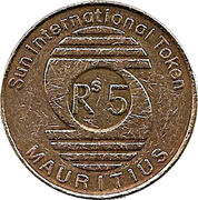 5 Rupees Token - Sun International Hotel – reverse