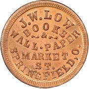 Cent - Civil War Merchant Token - J.W. Low Books (Springfield, OH) – obverse