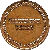 5 Shillings Telephone Token - Uganda Posts – obverse