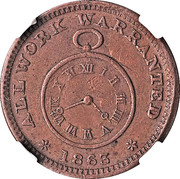 Cent - Civil War Merchant Token - Julian & Co. Watchmaker (Troy, OH) – reverse